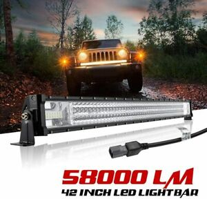 42Inch 58000LM LED Light Bar LED Work Light Pod Offroad Auxiliary Driving Lights