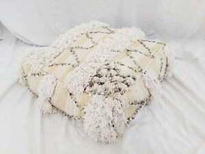 Moroccan Wedding Blanket.Details About Vintage Moroccan Wedding Blanket Pouf Floor Pillow Handira Wool Cotton