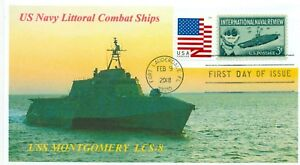 Uss-Montgomery-LCS-8-Littorial-Combate-Barco-Color-Foto-Cacheted-Primer-Dia-Pm