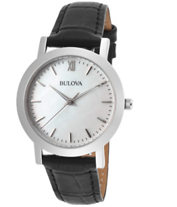 Bulova Women's Quartz Mother of Pearl Dial Black Leather Band Watch 32mm 96X132