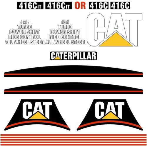 Cat Caterar 416C, 426C, 428C, 436C 438C IT DECALS STICKERS REPRO KIT