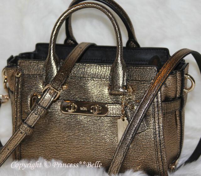 8409ddc6e5b3 COACH Swagger 20 Mini Carryall Leather Shoulder Crossbody Bag Purse Gold   375