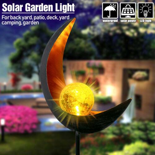 1-10Pcs LED Garden Solar Lights Pathway Outdoor Moon Crackle Globe Stake Lights