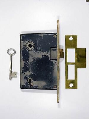 "priced per each Antique Mortise Door Bolt Lock w//key Cast Brass Face 5 1//2/"""