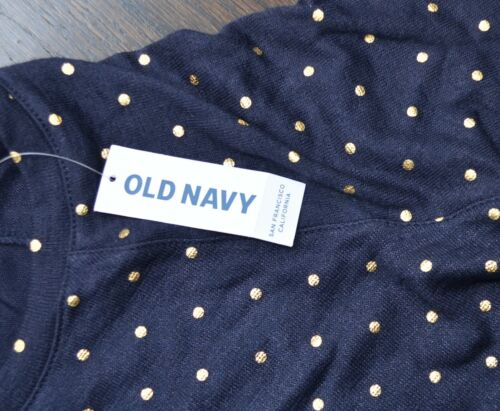 Old Navy girls gold polka dot navy stretch shirt long sleeve light airy NEW TAGS