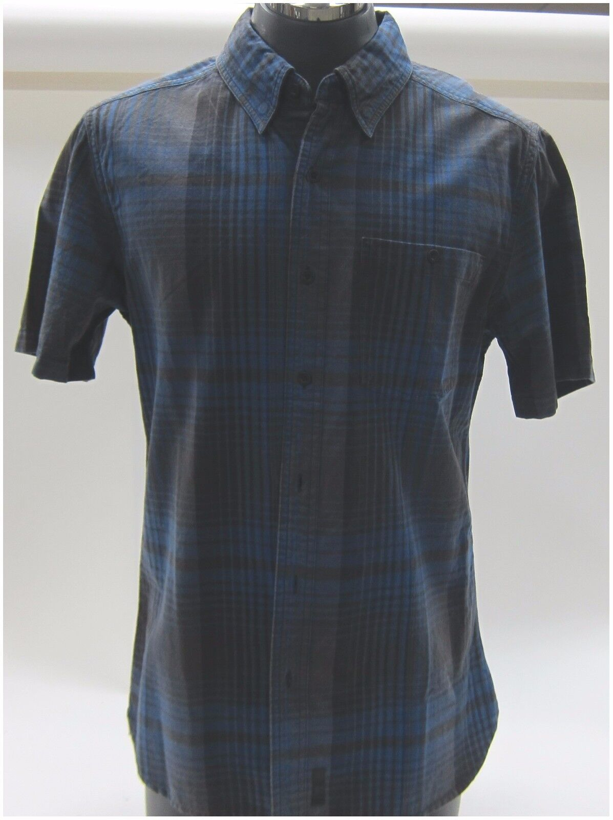 Harley-Davidson New  Men's 3XXX-Large Short Sleeve Slim Fit Woven Plaid bluee