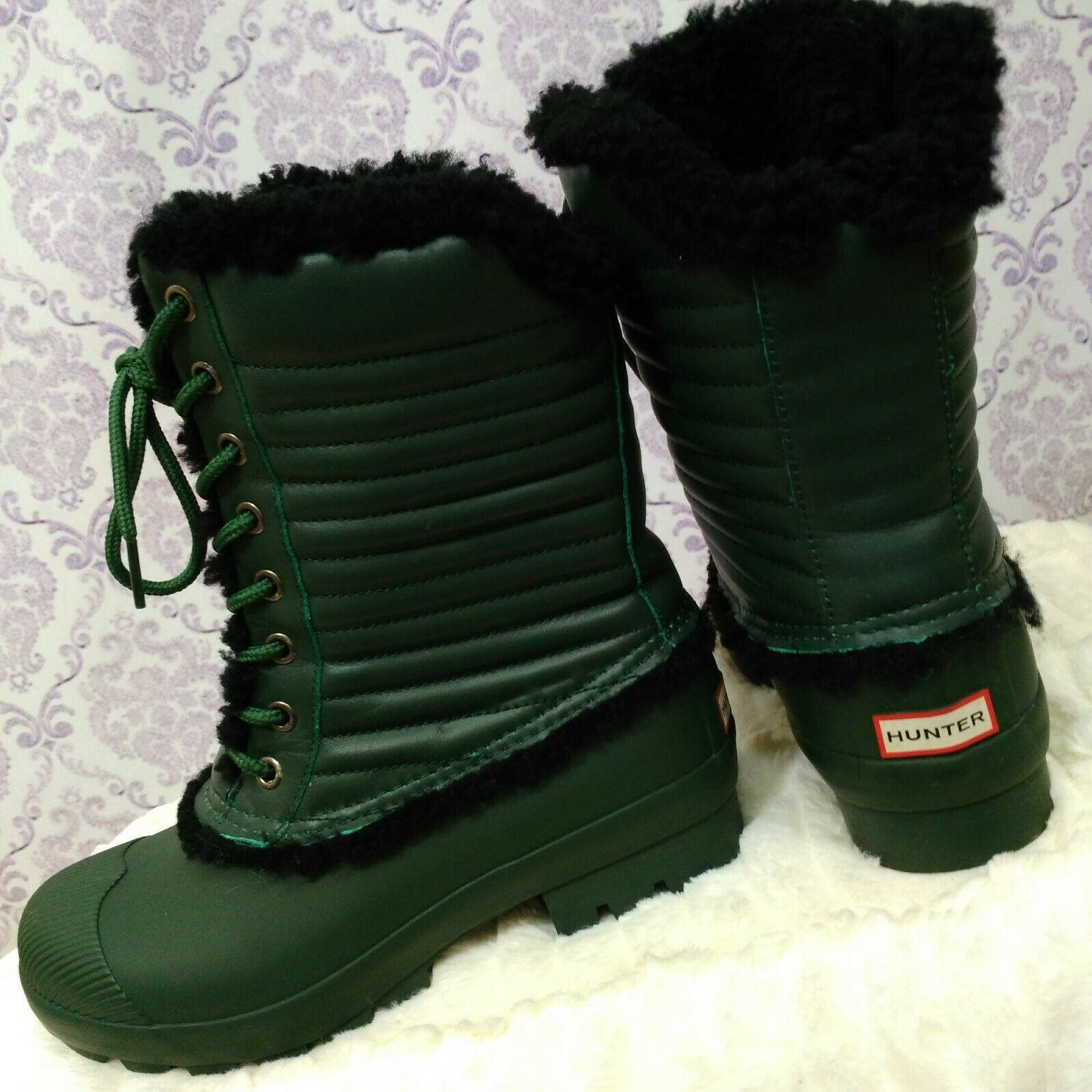 Hunter Rain stivali donna US 7 Shearling Lined Leather Mid Calf Lace Up verde