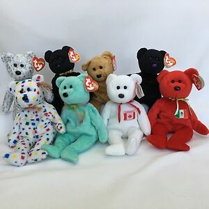 8 Ty Beanie Babies Teddy Bears Lot With Tags Maple The Beginning End ... 4808873ca732