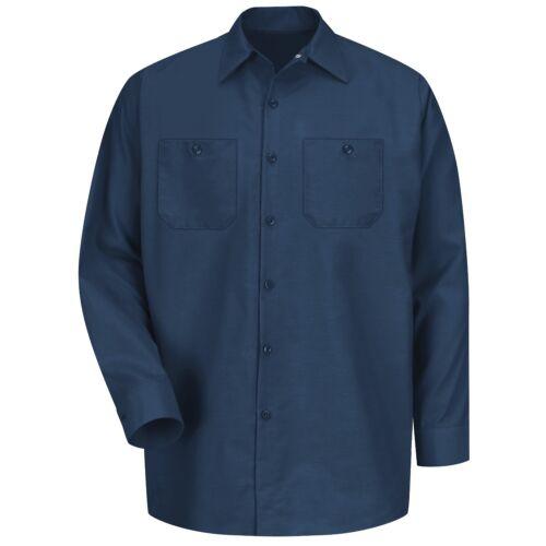 Navy Red Kap Mens Long Sleeve Industrial Work Shirt