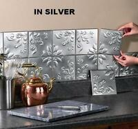 Set Of 14 Tin Silver Kitchen Backsplash Tiles W/ Adhesive Strips Ea. 6sq
