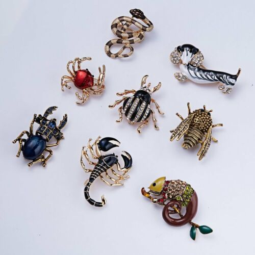Fashion Womens Crystal Pearl Insecte Scorpion Scarabée Caterpillar Broche Pin cadeaux