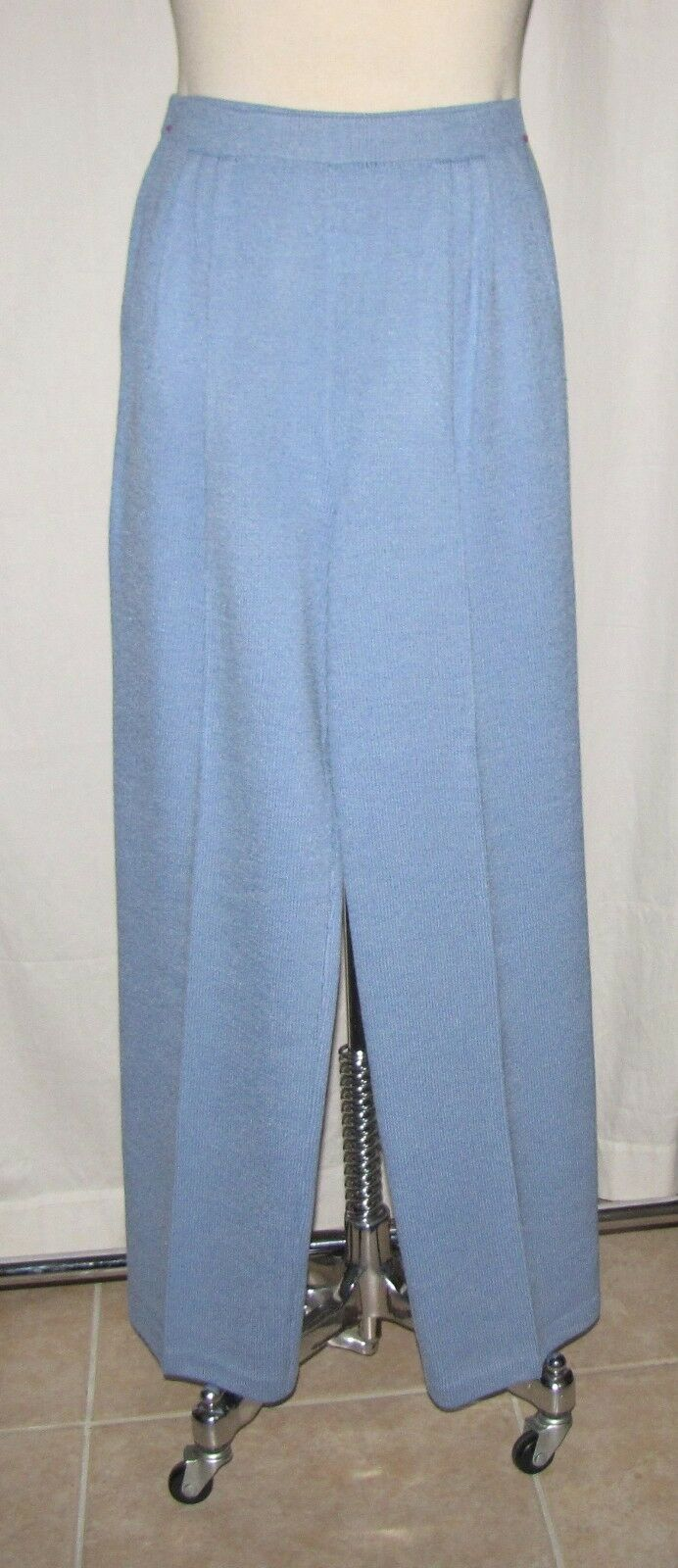 St John Collection Dusty bluee Santana Knit Pleated Front Trouser Pants Size 4