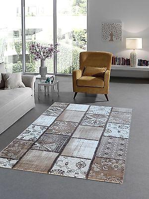 Designer Kurzflor Teppich Modern Patchwork Kumsal 23000 71-BEIGE braun cream