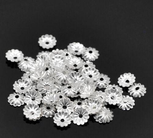 30J 250 SILVER PLATED WAVEY BEAD CAPS 6mm~Findings~Earrings~Necklace~Bracelet