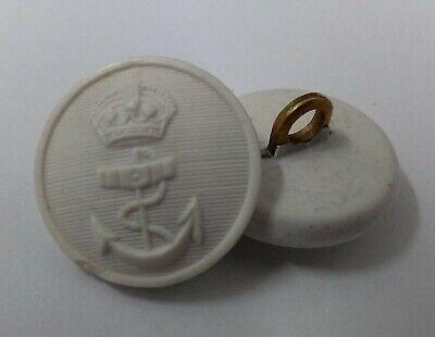 Genuine British Royal Navy RN White Nylon Naval Issue Dress Buttons 36L NEW