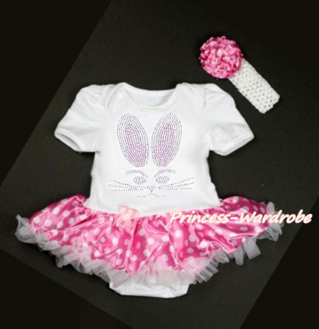 Easter Rhinestone Rabbit Bunny White Bodysuit Pink White Dot Baby Dress NB-18M