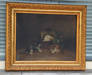 Top-british-artist-E-perretton-XIX-oil-canvas-kittens-playing-painting-signed