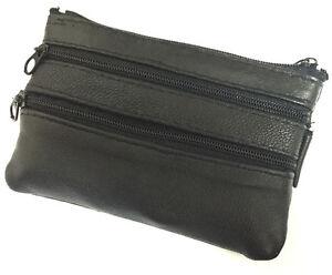 Men-039-s-Black-Leather-Zip-Coin-Purse-Change-Card-Holder-Front-Pocket-Keychain