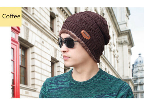Men New Trendy Stretch Cable Knit Lined Slouchy Beanie Wool Warm Winter Hat Caps