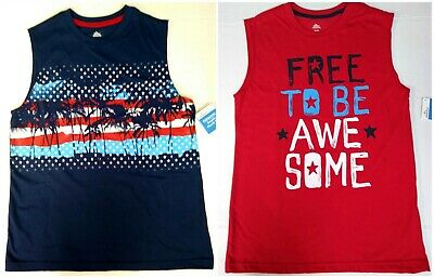 Red Awesome 10-12 14-16 14H-16H 18 Regular /& Husky Boys Muscle Tee Blue Beach