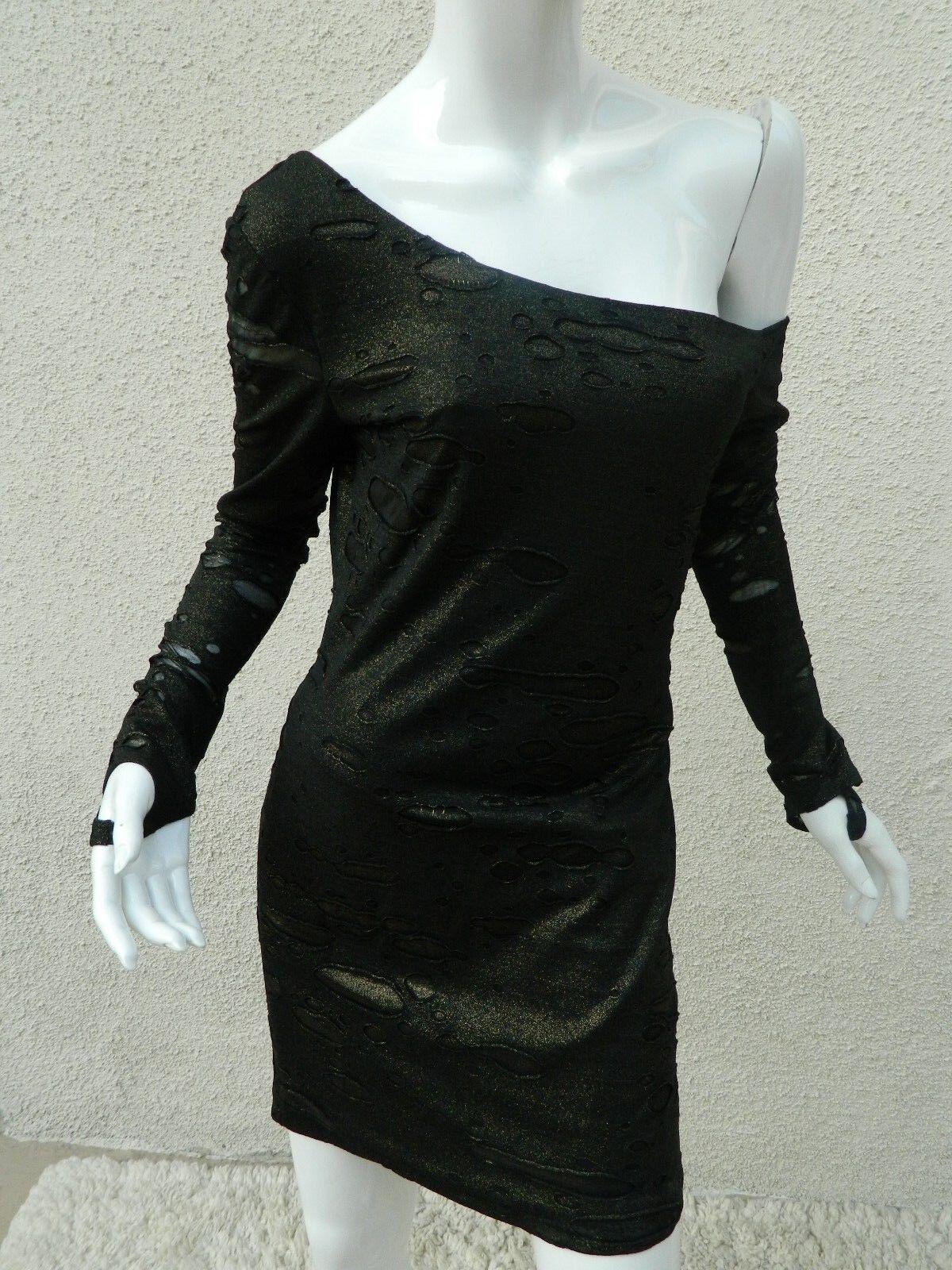 Torn By Ronny Kobo Dress Metallic Bronze braun Ripped Body Con Dress Sz S