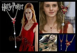 VINTAGE HERMIONE GOLD RED ZIRCON CRYSTAL PEARLS COSPLAY NECKLACE