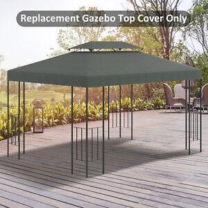 Outsunny 13' x 10' 2-Tier Gazebo Canopy Top Cover Replacement Garden Deep Grey