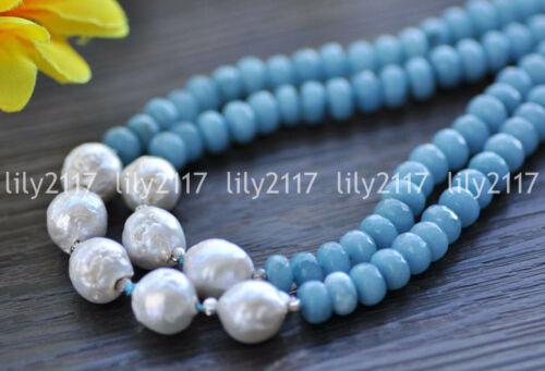 Naturel 12-13 mm blanc Edison Keshi Pearl /& à facettes 8 mm Aquamarine Gems collier