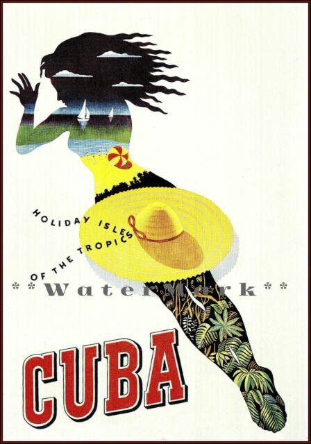 POSTER CUBA HOLIDAY ISLE OF THE TROPICS CUBAN MAMBO DANCE VINTAGE REPRO FREE S//H