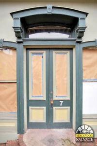 Image Is Loading Victorian Double Door Entryway Orig Br Hardware Wavy