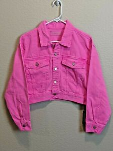 New-Blank-NYC-Pop-Pink-Cropped-Denim-Jacket-Size-Large-New-with-Tags
