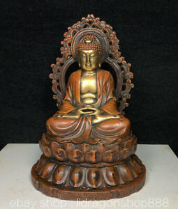 6-034-Tibet-Cuivre-Rouge-24k-Dore-Sakyamuni-Tathagata-Bouddha-Retroeclairage-Statue