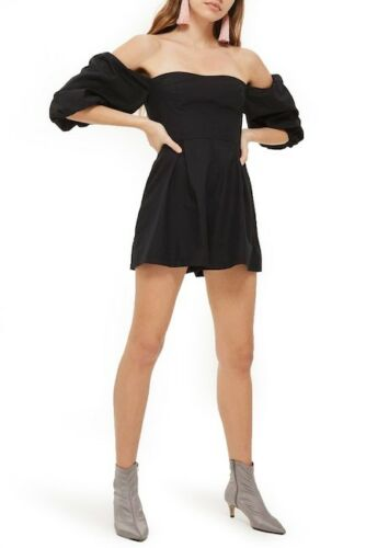 Black Topshop at Playsuit Poplin Ladies Bardot 5054663098558 Taglia 6 H5fw00xTdq