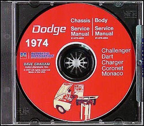 1974 Dodge CD Shop Manuel Dart Swinger Coronet Chargeur Challenger Monaco
