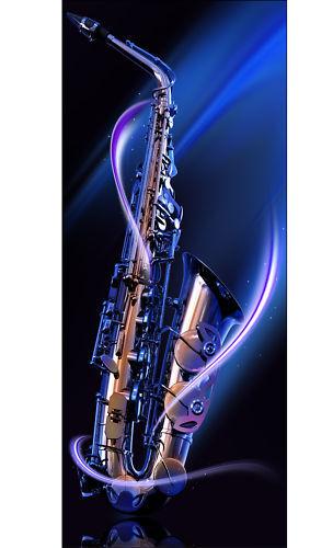 Aufkleber Deko Kühlschrank Saxophon 70x170cm Ref 085