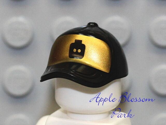 cbcac6bd08a Lego City Boy girl Minifig Black Baseball Cap -gold Head Gear Hat W ...