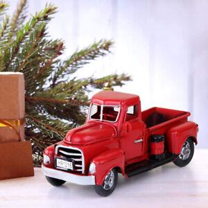 Navidad-Decoracion-Vintage-Metal-Clasico-Camioneta-Camion-Rojo-Con-Granja-De-Arbol-Casa-Rustica