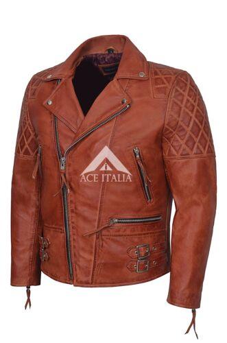 Sono ckless/'S UOMO crosta Bordeaux Stile Biker Giacca in Pelle Nappa Moto