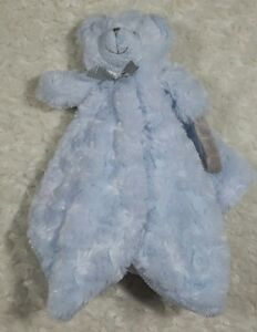 Blankets & Beyond Baby Blue Teddy Bear Security Blanket Soft Pacifier Holder