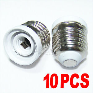 10Pack Adapter Converts Chandelier Socket E12 to Medium Socket E26/E27 Lamp Bulb