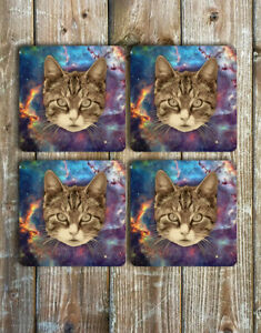 Space-Kitty-Novelty-Drink-Coasters-Set-of-4-Non-Slip-Neoprene-Cat-Coasters