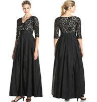 Women Long Maxi V lace Satin Joint Formal Evening Cocktail Party Plus Size Dress