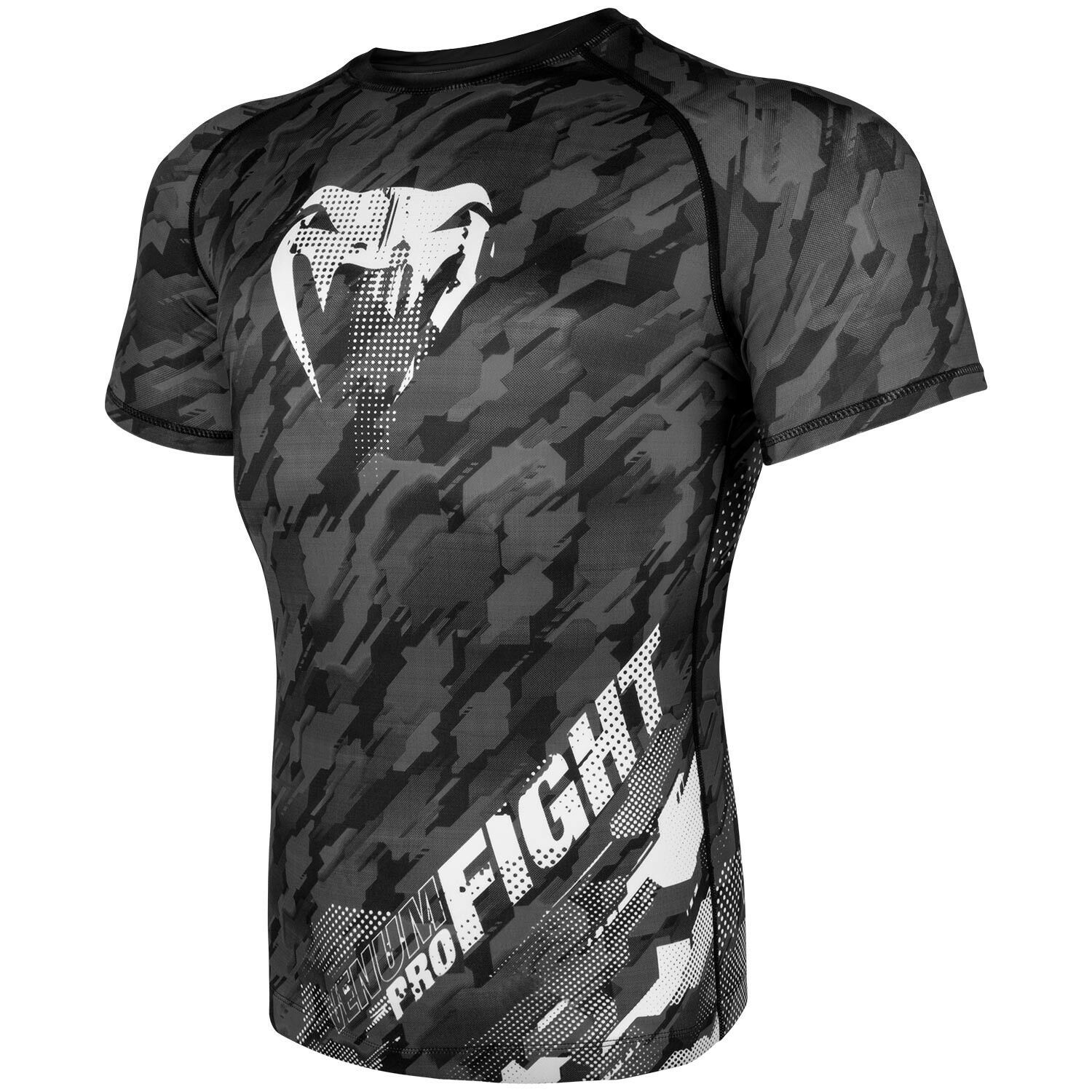 Venum Tecmo MMA Rash Guard BJJ Short Sleeve Mens Grey Compression Top