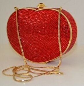 picked up 100% genuine hot sales Details about JUDITH LEIBER SWAROVSKI RED HEART N SOUL MINAUDIERE CLUTCH  EVENING BAG purse