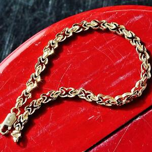 10k-yellow-gold-bracelet-7-5-034-diamond-cut-link-chain-handmade-vintage-8-3gr