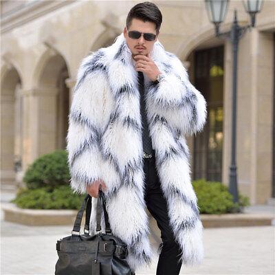8b39d81ffe0 Mens Luxury Faux Fur Trench Coats Hooded Long Jacket Parkas Outwear ...