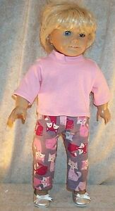 Doll-Clothes-Made-2-Fit-American-Girl-18-034-inch-Pajamas-Sleepwear-Foxes-Pink-2pc