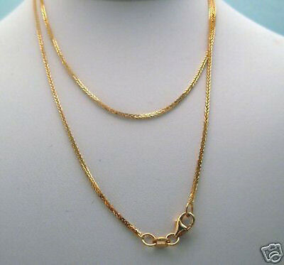 """NEW 18/"""" ITALIAN Solid 14K Yellow Gold Square Wheat Chain 1.8g SPARKLING 1mm"""
