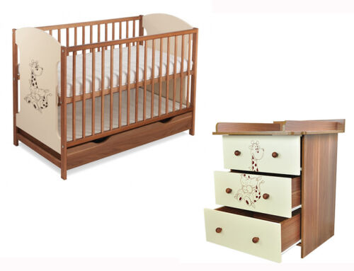 chest with drawers mattress Baby furniture set MIKI cot with drawer