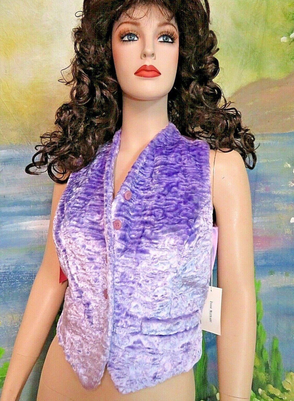 Isaac Mizrahi COUTURE Top Gilet NORDSTROM 425   LAVANDE fausse fourrure VELOURS Neuf avec étiquettes 6